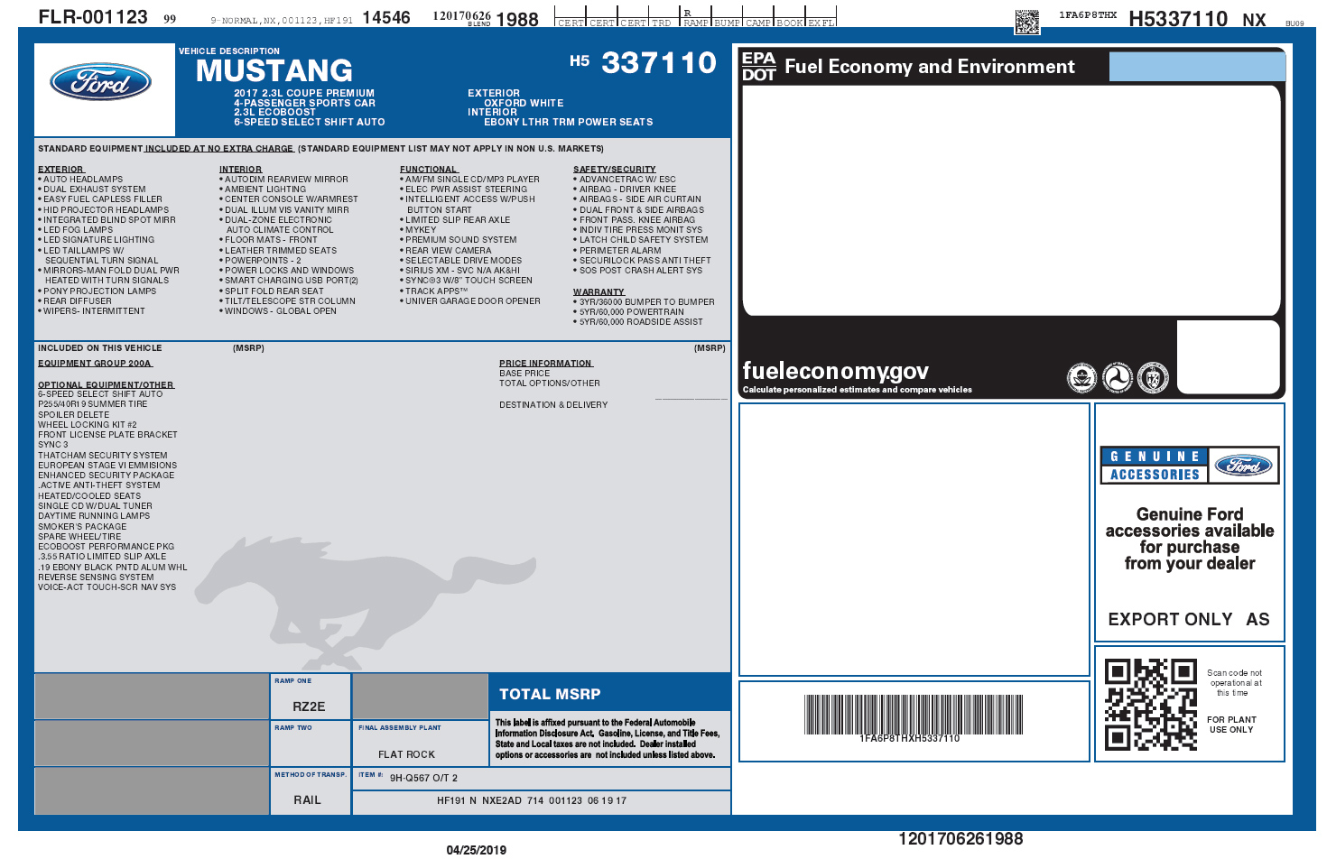 How To Download Your Original Mustang Window Sticker Ford Mustang Ecoboost Forum